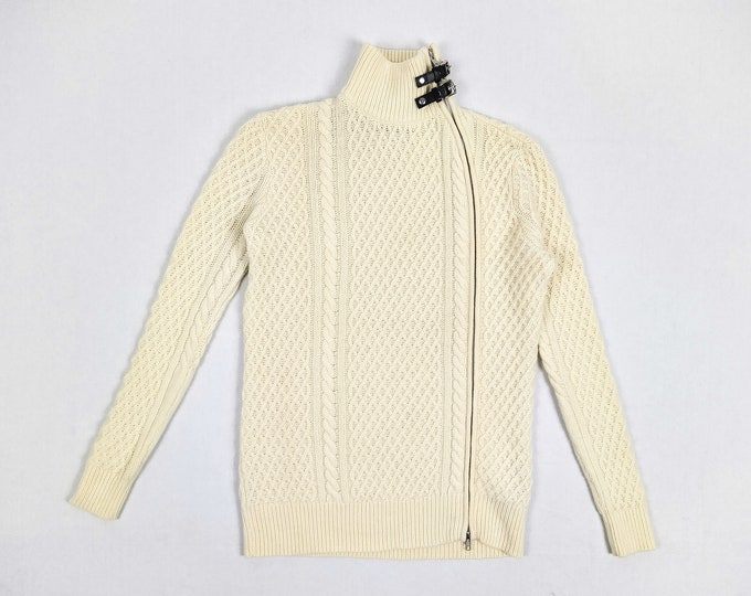 THE KOOPLES men's pre-owned cream zippered wool sweater