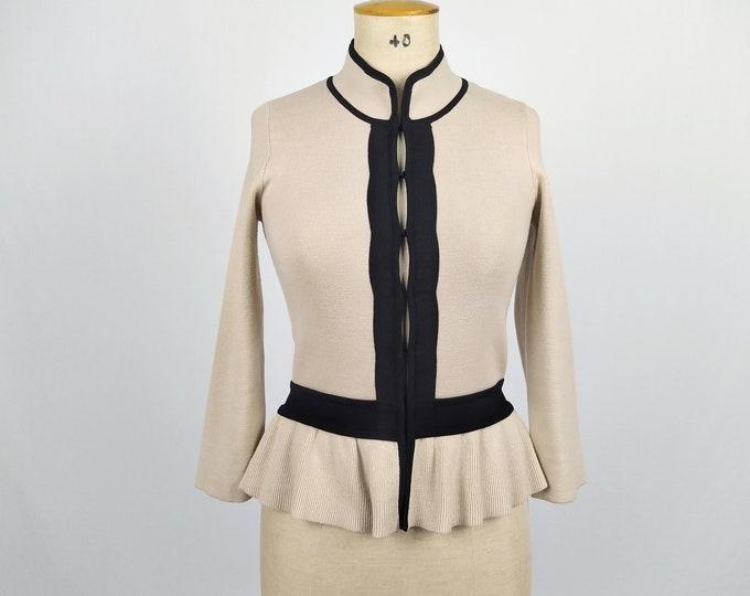 KAREN MILLEN pre-owned beige and black peplum cardigan