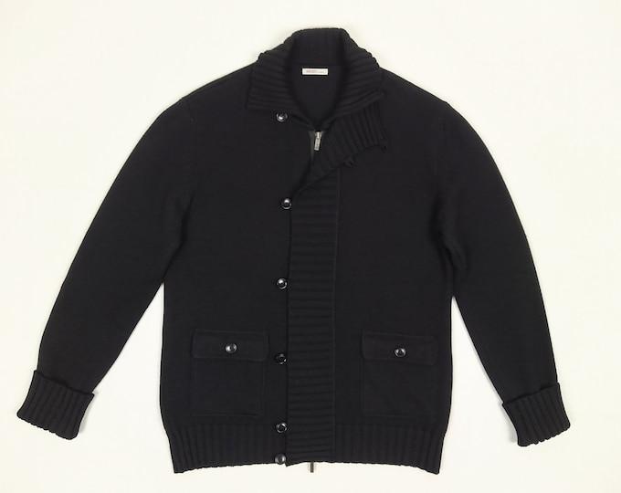 KENZO pre-owned men's black wool knit hidden zipper cardigan