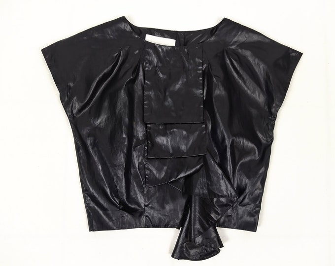 DESIGNERS REMIX pre-owned black wet look ruffle blouse