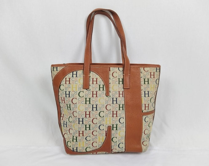 CAROLINA HERRERA pre-owned monogram canvas and leather tote bag
