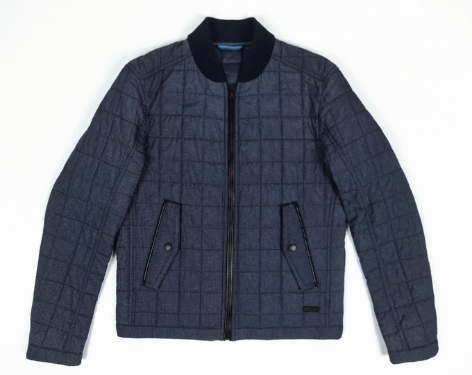 BOSS pre-owned men's dark blue quilted jacket