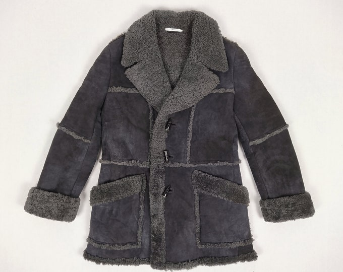 YVES SAINT LAURENT Rive Gauche men's pre-owned anthracite shearling coat