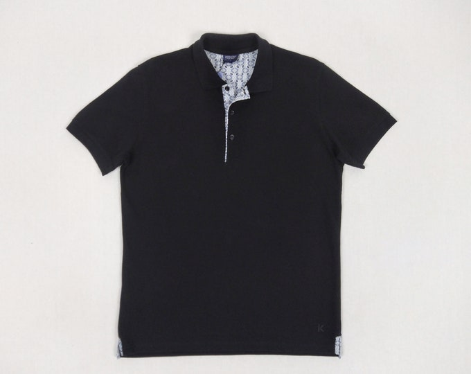 KENZO HOMME men's black cotton pique polo shirt NWT