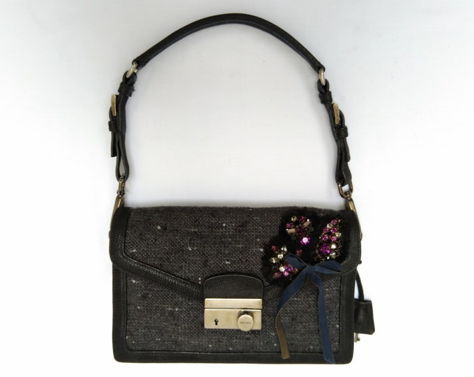 PRADA Sound S pre-owned embellished tweed shoulder bag