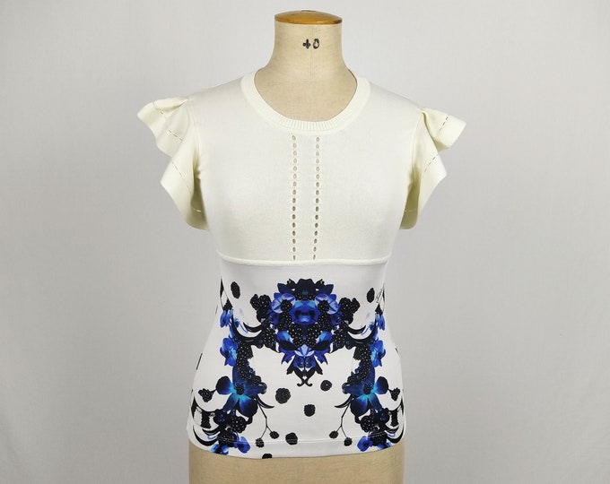 JUST CAVALLI pre-owned ivory berries print butterfly sleeve top