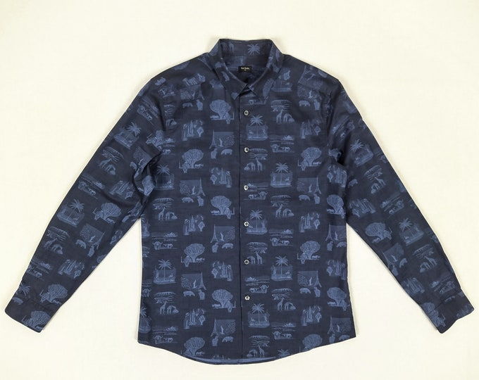 PAUL SMITH pre-owned blue jacquard cotton shirt