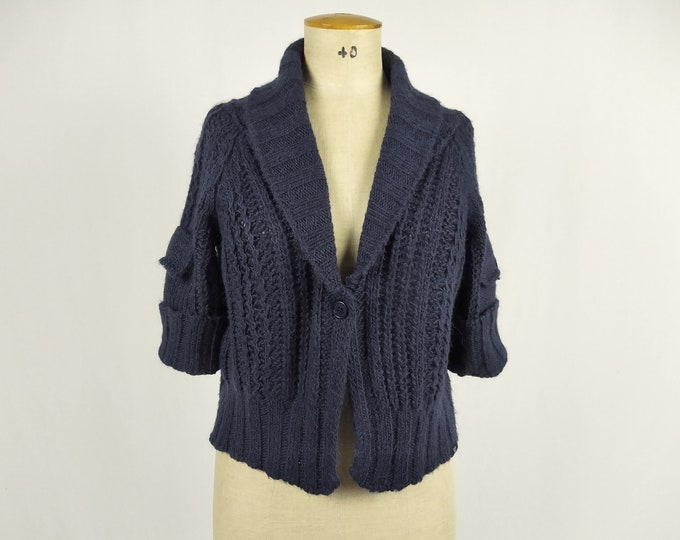 CALVIN KLEIN JEANS pre-owned space blue cropped cardigan