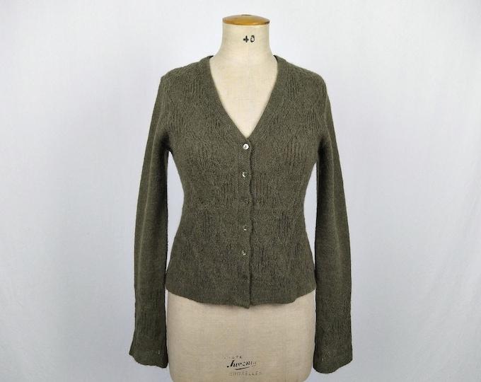 CACHAREL Y2K vintage seaweed green knit cardigan