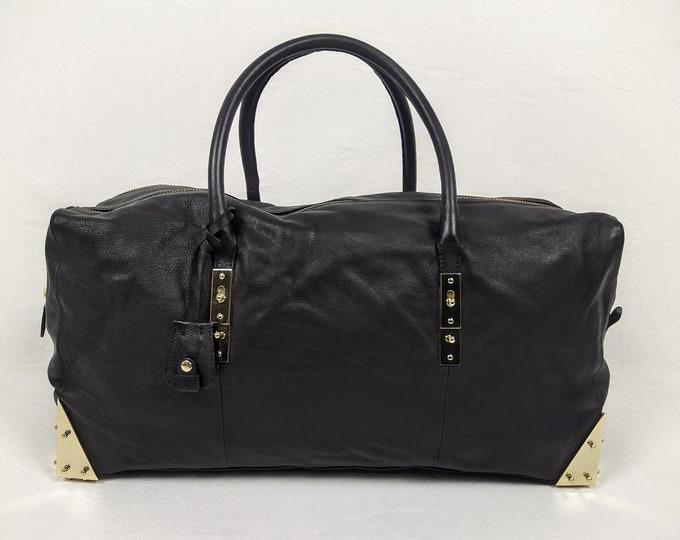 STINE GOYA for ADAX pre-owned unisex black leather weekend bag