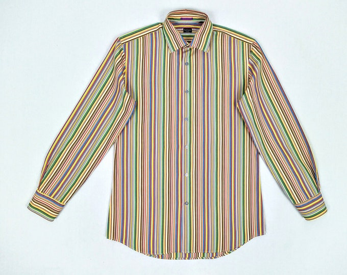 PAUL SMITH pre-owned multicolour signature stripe cotton shirt