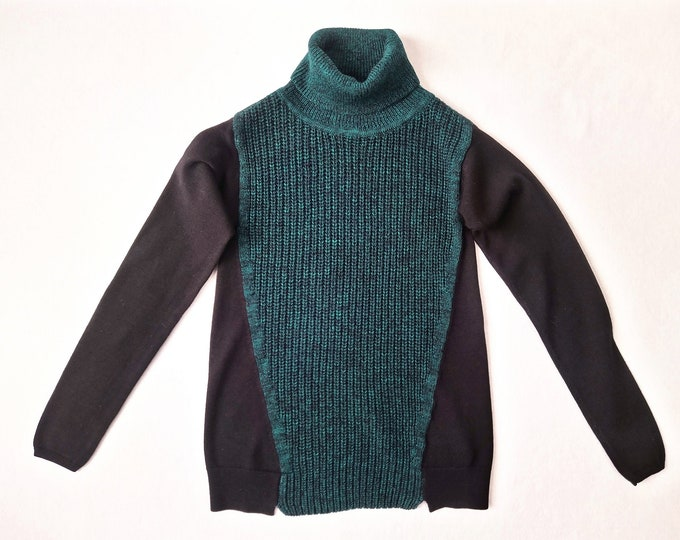 KAREN MILLEN pre-owned teal green and black turtleneck sweater