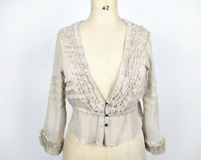 DAY BIRGER et MIKKELSEN pre-owned nude silk chiffon ruffle blouse
