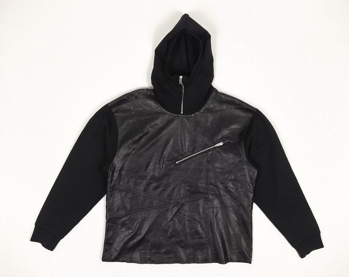 MCQ by ALEXANDER MCQUEEN pre-owned men's black leather front hoodie