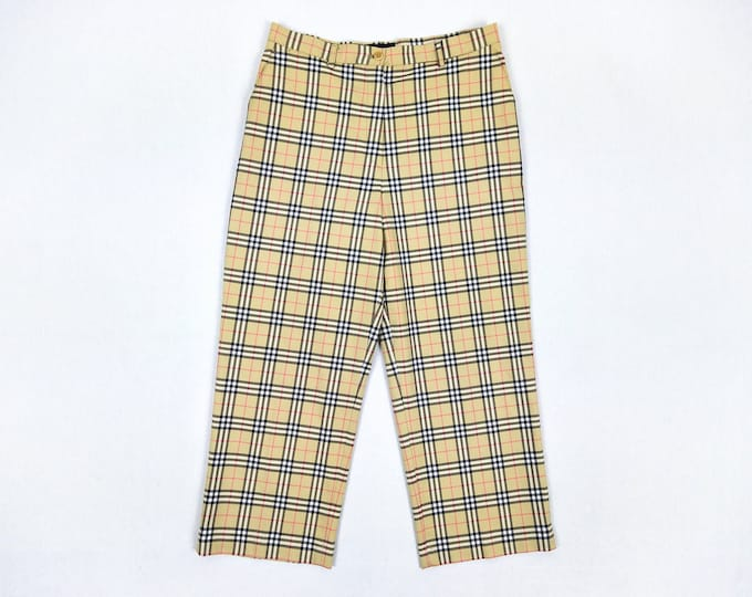 BURBERRY GOLF pre-owned women's check cropped wide leg cotton pants