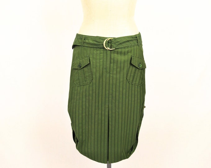 ESCADA SPORT pre-owned green cotton hitched up skirt