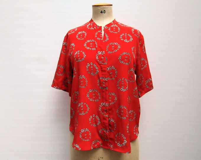 SANDRO pre-owned red peace sign print silk blouse