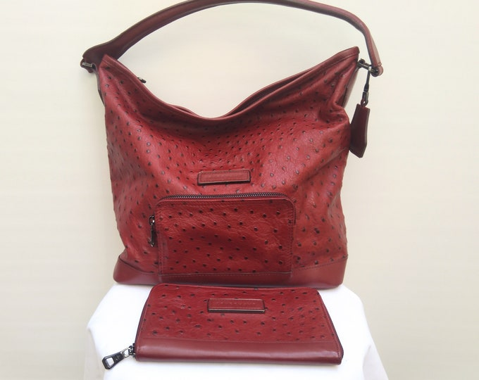 LONGCHAMP LÉGENDE pre-owned dark red ostrich embossed leather hobo bag and matching wallet