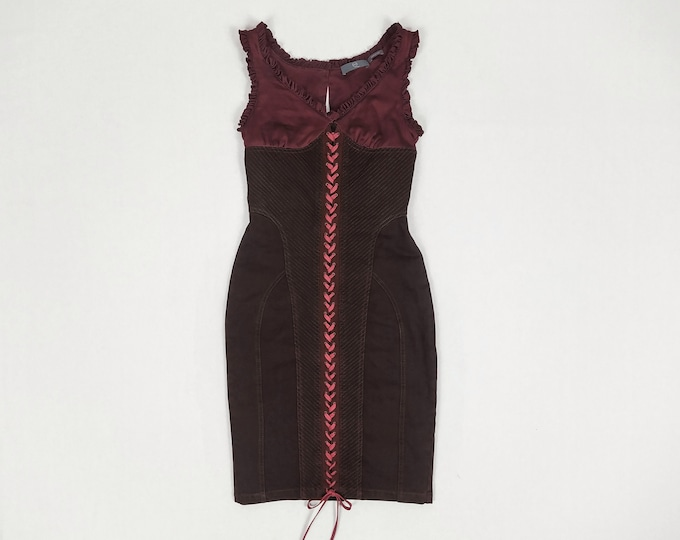 MCQ by Alexander McQueen pre-owned burgundy denim lace-up dress