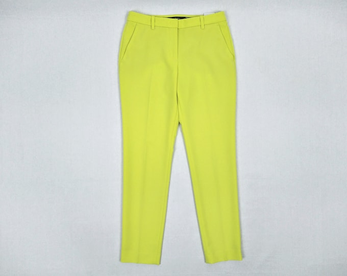 MARC CAIN pre-owned neon yellow creased trousers