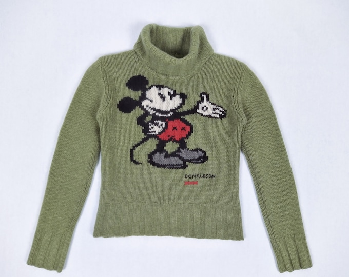 DONALDSON pre-owned olive green cashmere Mickey Mouse turtleneck sweater