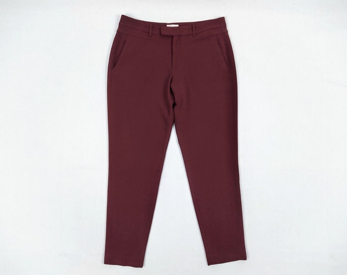 HELMUT LANG pre-owned women's wine red tapered crepe trousers