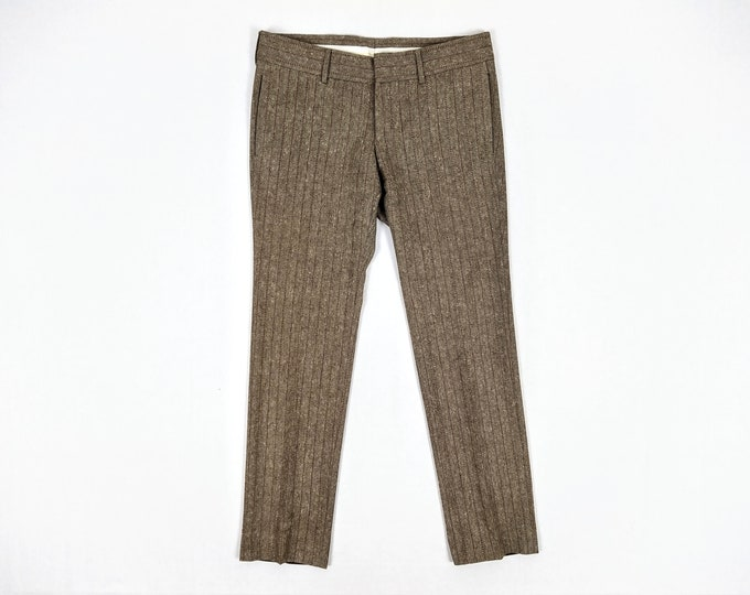 GUCCI men's pre-owned brown striped wool pants