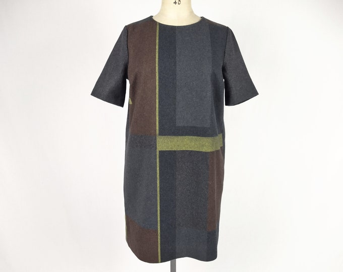 BRUUNS BAZAAR printed anthracite wool-blend shift dress NWT