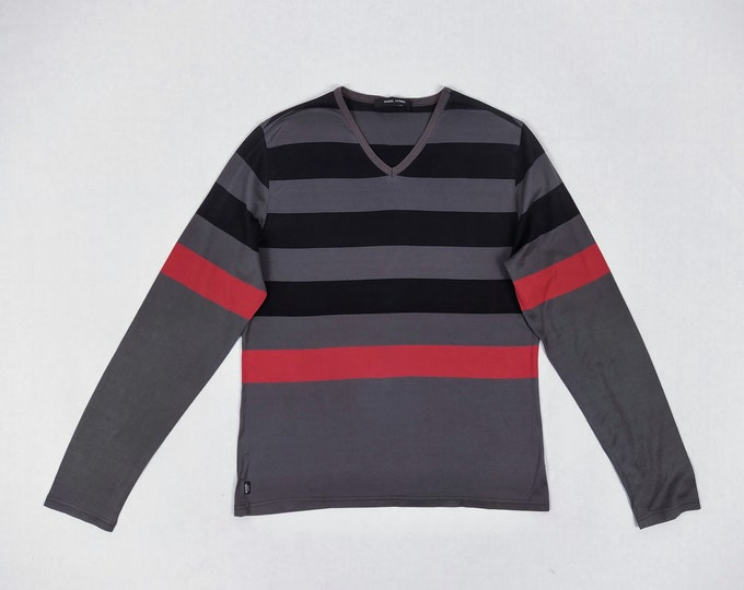 RYKIEL HOMME pre-owned striped cotton long sleeved jersey t-shirt