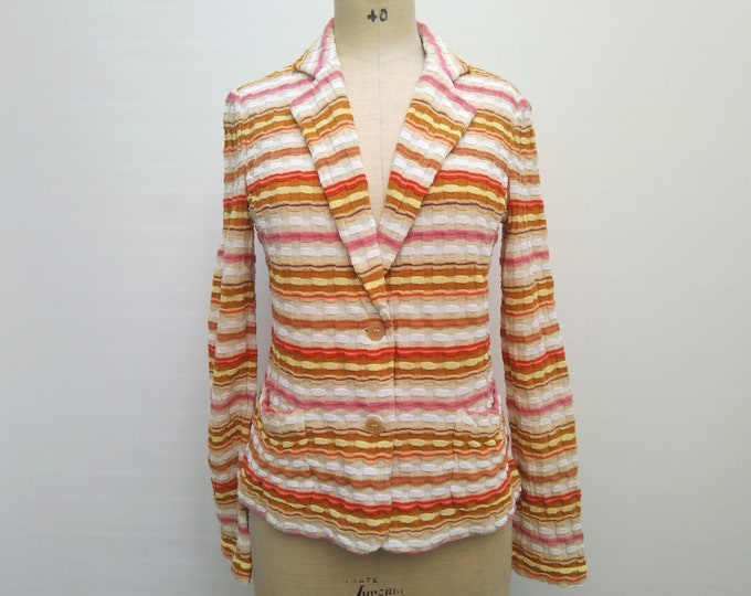 MISSONI pre-owned striped wool blend rib knit jacket