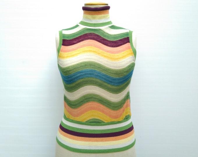 MISSONI SPORT pre-owned wave pattern sleeveless turtleneck wool knit top