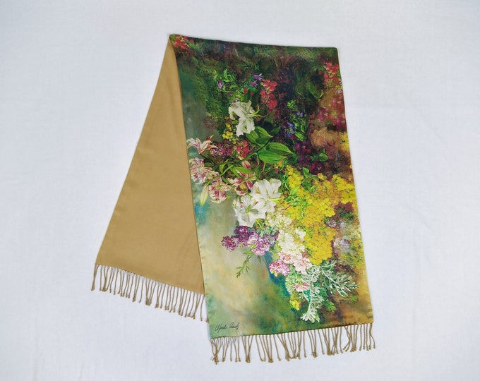ALFREDO PAULY pre-owned floral print silk satin stole