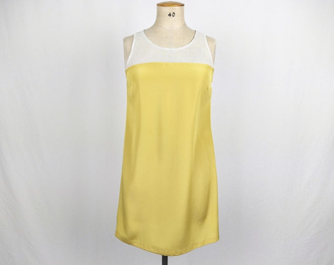 SPORTMAX CODE pre-owned yellow silk and white mesh shift dress