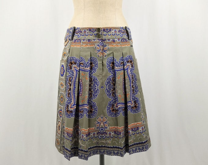 ETRO pre-owned pleated print cotton skirt