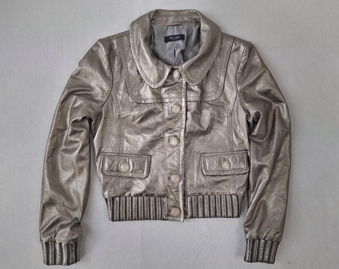 SAND pre-owned champagne metallic leather jacket