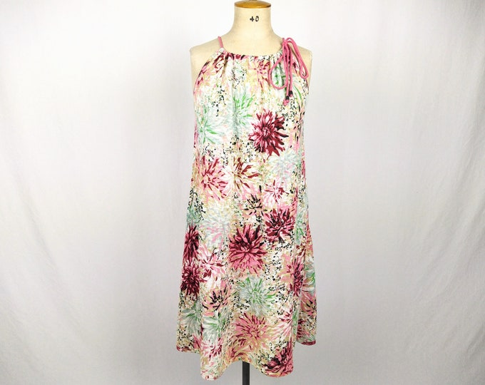 KENZO pre-owned floral print cotton knit drawstring neck dress