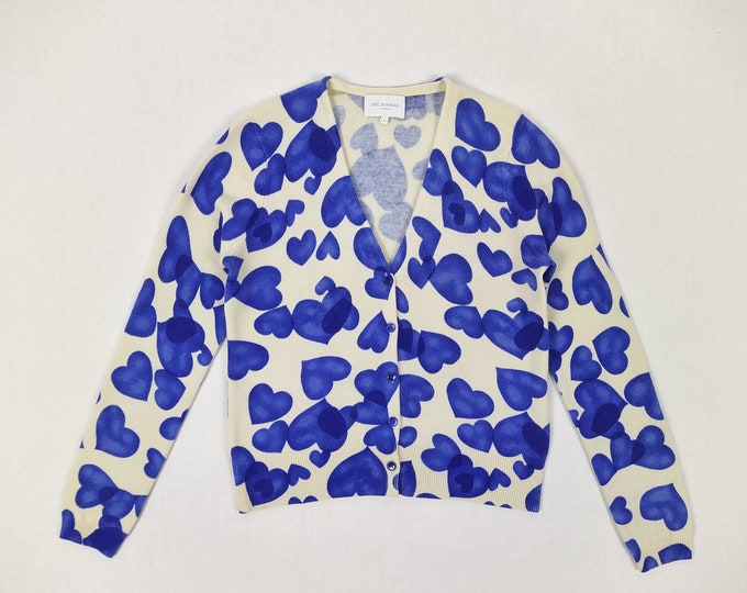 ERIC BOMPARD pre-owned blue heart print cashmere cardigan