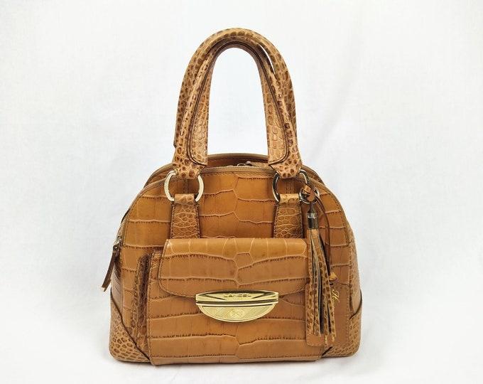 LANCEL ADJANI pre-owned cognac croc embossed leather bag