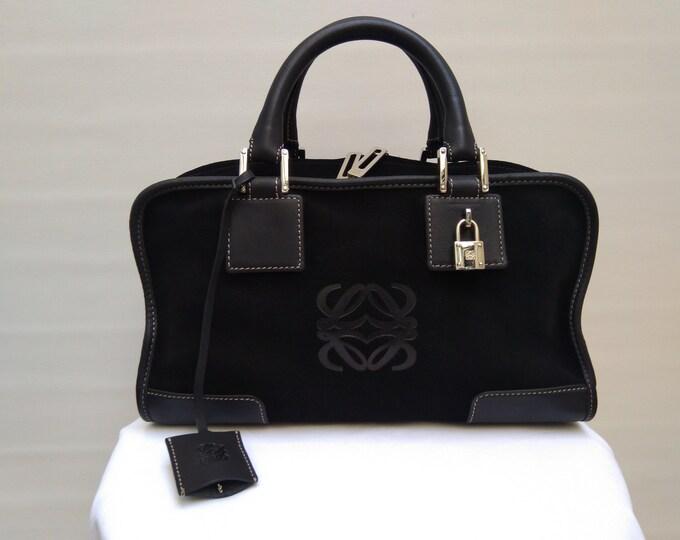 LOEWE Amazona 28 pre-owned black suede tote bag