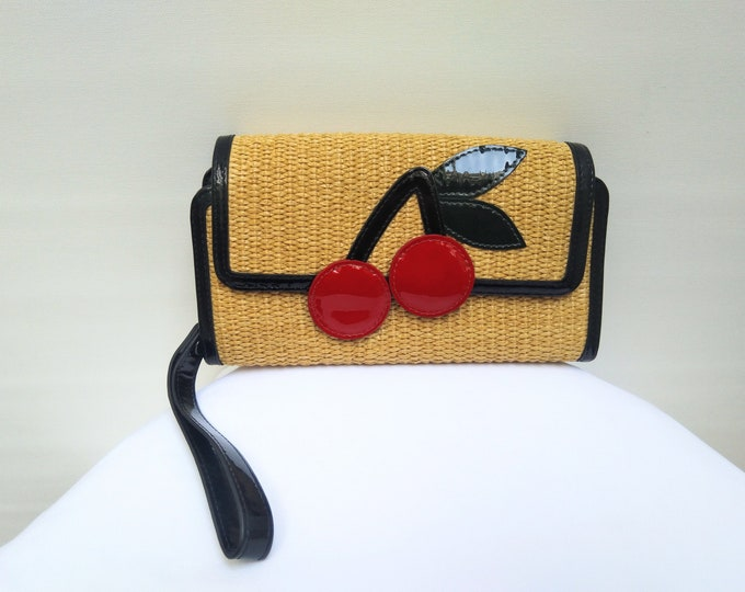 SONIA by SONIA RYKIEL pre-owned straw and patent leather cherry applique wristlet