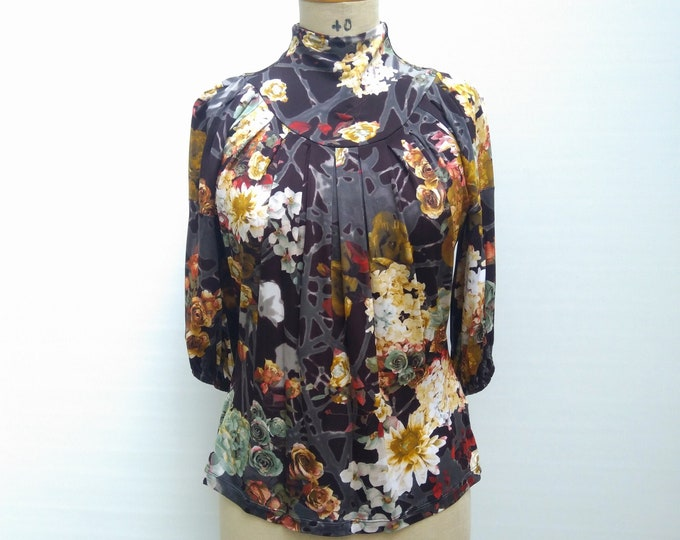 JUST CAVALLI pre-owned floral mock neck blouse top