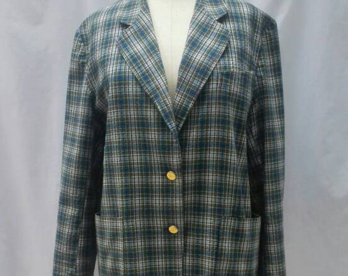 BURBERRYS vintage 80s multicolor check plaid oversized cotton blazer