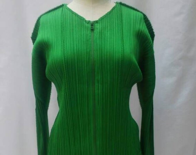 ISSEY MIYAKE Pleats Please vintage 90s green zipper jacket nwt