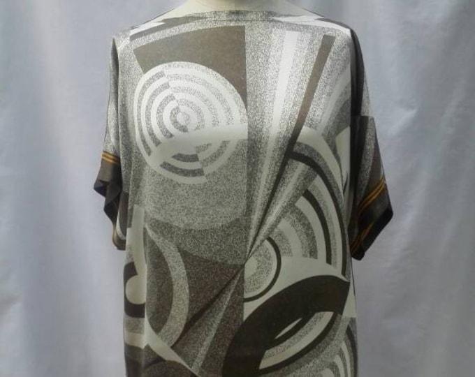 ETIENNE AIGNER vintage 70s geometric print silk tunic