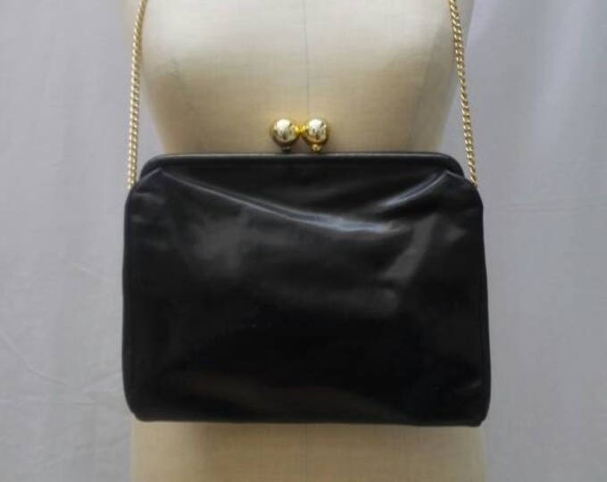 FURLA vintage big black leather clutch purse