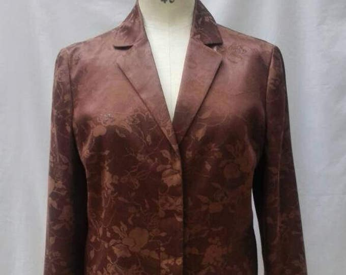 KENZO PARIS vintage 90s brown silk and cotton floral damask cropped jacket