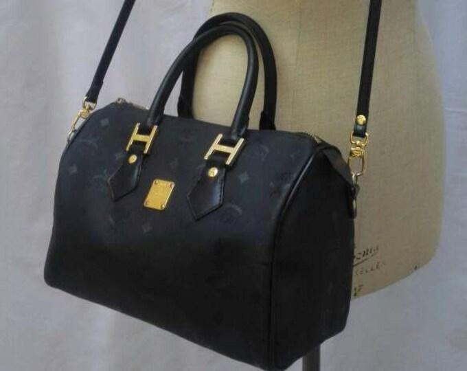 MCM vintage 90s black monogram handbag / Boston speedy bag