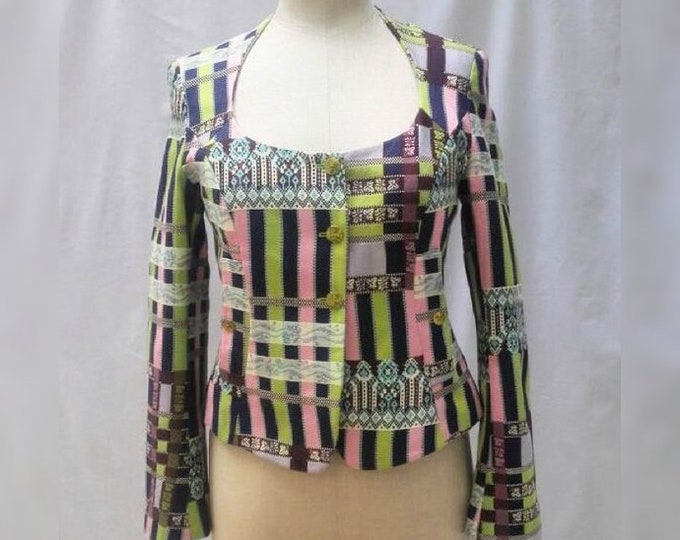 CHRISTIAN LACROIX BAZAR vintage 90s multicolour cotton jacket
