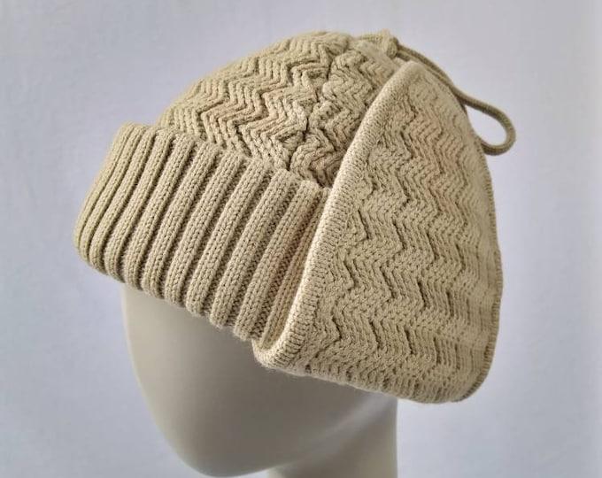 VALENTINO BOUTIQUE vintage 70s khaki wool knit trapper hat