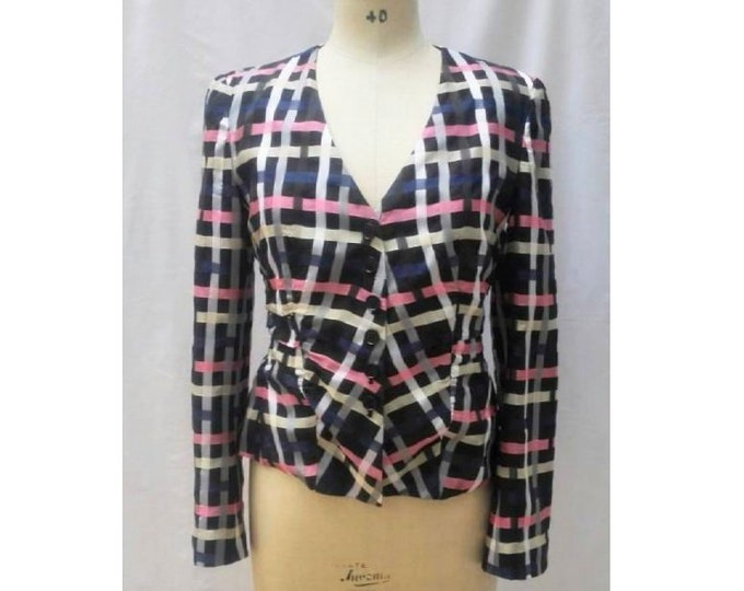EMPORIO ARMANI vintage 80s multicolour check pattern jacket